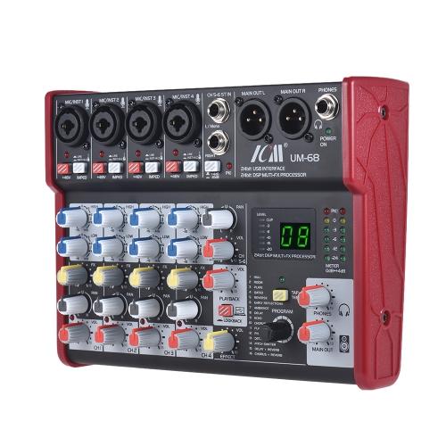 ICM UM-68 Przenośny 6-kanałowy mikser dźwięku Mikser konsoli Wbudowany 16 efektów z interfejsem USB Audio Obsługuje 5V Power Bank do nagrywania DJ Network Transmisja na żywo Karaoke