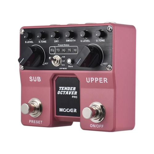 MOOER TENDER OCTAVER Pro Octave Guitar Effect Pedal Sub & Upper Octaves 4 User Presets with Dual Footswitches