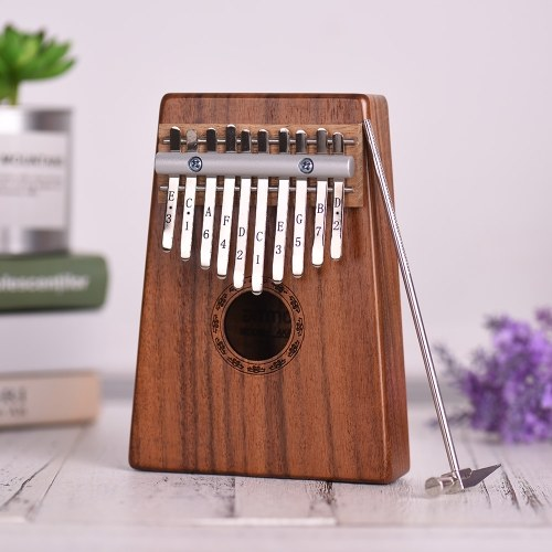 10-Key Thumb Piano Kalimba Mbira Sanza Hawaiian Koa Solid Wood with Carry Bag Music Book Tuning Hammer Musical Gift AKP-10K