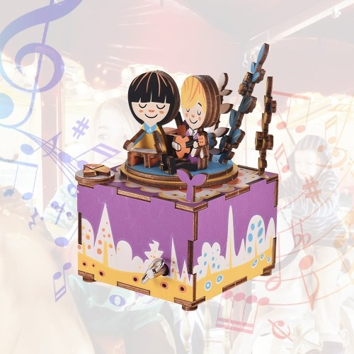 Деревянная рукоятка музыкальной шкатулки DIY Set Cartoon Figure Design Рождественский день рождения Музыкальный фестиваль подарков Подарки для друзей-любителей
