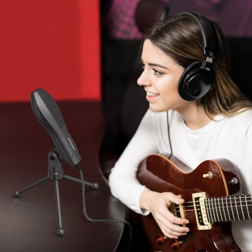 USB Wired Condenser Microphone Mic with Desktop Mini Tripod Stand for PC Laptop Playing Games Computer Studio Recording Online Chatting Singing Broadcast