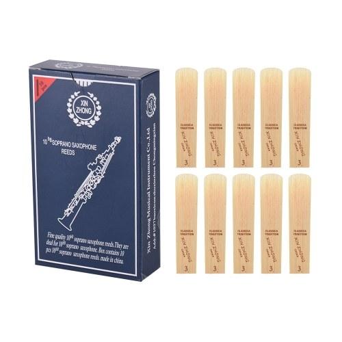 Normal Level Bb Sopran Saxophon Sax Blattstärke 3,0 für Anfänger, 10 Stück / Karton