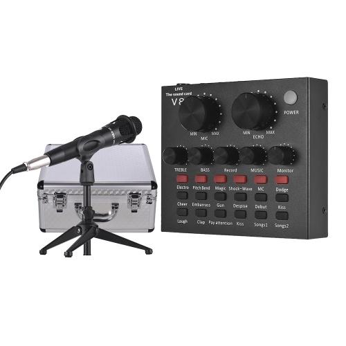 Carte son externe Interface audio USB + Microphone à condensateur filaire + Microphone Trépied de bureau + Écouteur pour moniteur avec étui en alliage d'aluminium pour chanter en ligne Chating Live Video Streaming Enregistrement de musique