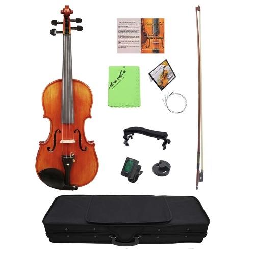 4/4 Acoustic Violin Fiddle Fichtenholz Front Board Flame