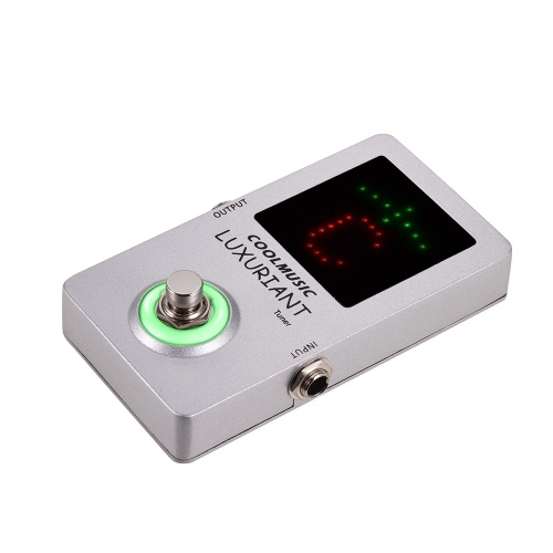 COOLMUSIC Chromatic Tuner Pedal Aluminum Alloy Shell True Bypass Low Noise Output Large LED Display