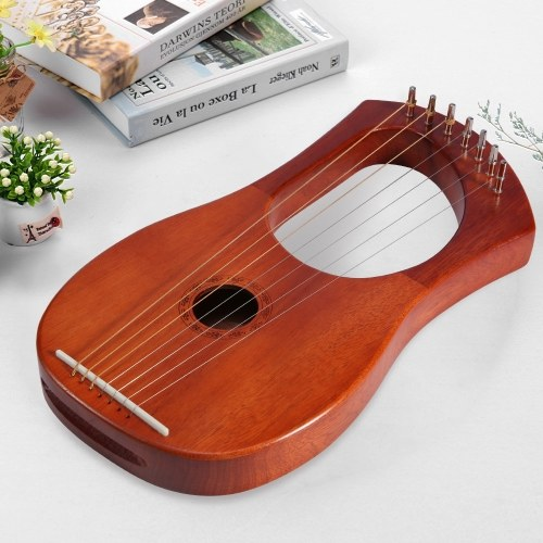 ammoon Small 7-String Lyre Harp Lyre Piano Steel Wire Strings Mahogany Plywood Body Mahogany Veneer Topboard String Instrument with Carry Bag