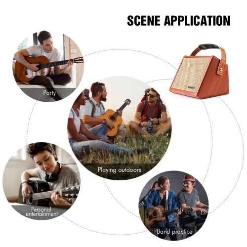 ammoon AC-15 15W Portable Acoustic Guitar Amplifier Amp BT Speaker with Microphone Input Supports Volume Bass Treble Control Reverb Effect Built-in Rechargeable Battery