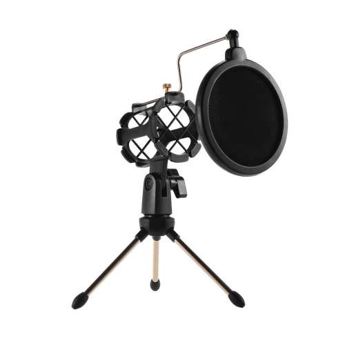 Mini Desktop Mikrofonständer + Shock Mount Mikrofonhalter + Pop Filter Kit