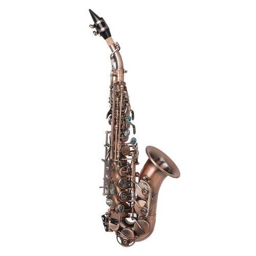Matériel en laiton d'instrument à vent de clé de bb de saxophone soprano antique rouge