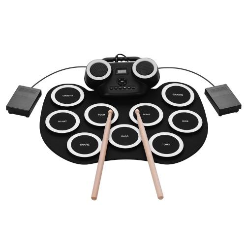 ammoon Tragbare elektronische Roll-up-Trommelauflage Silicon Digital Drum