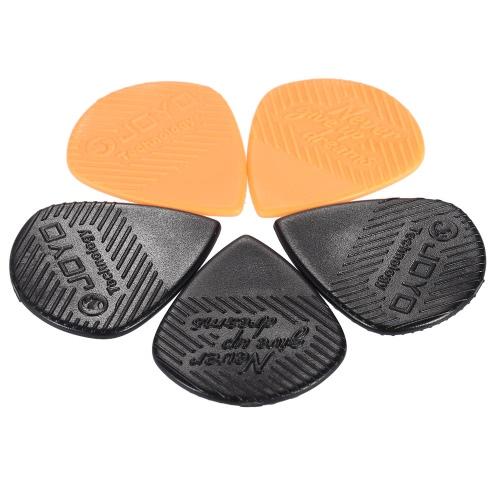 オレンジで黒の 2 個のツメ 3枚入をピックアップ 5 個プラスチック三角形形状ギター