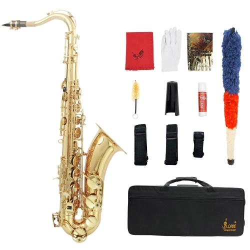 LADE Mosiądz Bb Saksofon Tenorowy Sax Rzeźbione Wzory Biały Białe Powłoki Guziki Instrumenty Dętne z Rękawiczkami Rękawiczki Czyściwo Szczotka Pędzel