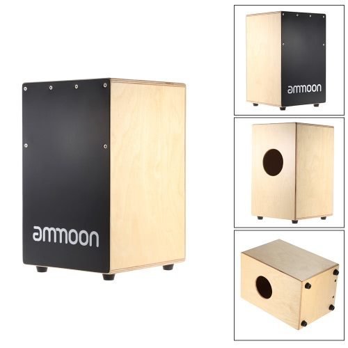 ammoon wooden cajon hand drum children box drum persussion instrument with stings rubber feet 23. Black Bedroom Furniture Sets. Home Design Ideas