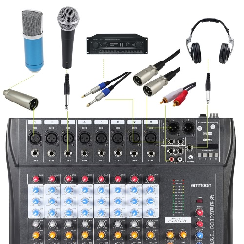 TOMTOP / CT80S-USB 8 Channel Digtal Mic Line Audio Mixing Mixer Console with 48V Phantom Power for Recording DJ Stage Karaoke Music Appreciation