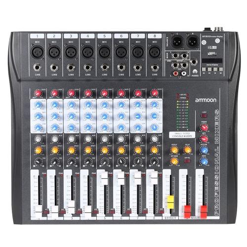 CT80S-USB 8 Canales Línea Mic Digital Mezcla de Audio Mezclador Consola con 48 V de Alimentación Phantom para la Grabación de DJ Etapa Karaoke Apreciación Musical