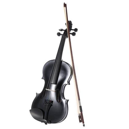 ammooon 1/2 Student Violin Metallic Black Equipped with Steel String w/ Arbor Bow + Case for Beginners Music Lovers
