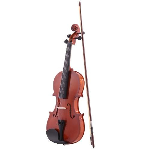 ammoon Natural 4/4 Violín Acústico Spruce Violín con Cuerdas de Acero con Caso Instrumentos de Cuerda del Arco Arbor para Amantes de la Música Principiantes