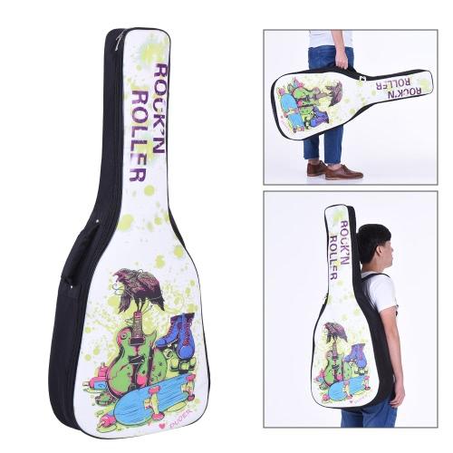 41&42インチのアコースティックフォーククラシックギターギグバッグケースバックパックPU表面防水厚みのパッド入り調整可能なデュアル・ショルダーストラップスケートボードやギターのパターン