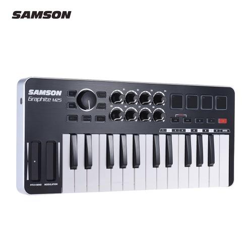 USBケーブルとSAMSONグラファイトM25ウルトラポータブルミニ25キーのUSB MIDIキーボードコントローラー(4パッド/ 8アサイナブルノブ)