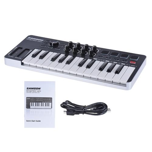 SAMSON Graphite M25 Ultra-Portable Mini 25-Key USB-MIDI-Keyboard-Controller mit USB-Kabel (4 Pads / 8 zuweisbare Knöpfe)