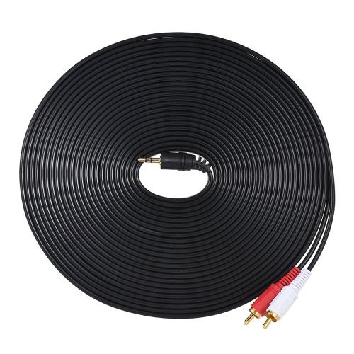 3.5mmオス・プラグとデュアルRCAオーディオ・ケーブル・コネクターYスプリッター・ワイヤー・コード(10m / 32.8ft)、コンピューターとTVのアンプ・ラウドスピーカー