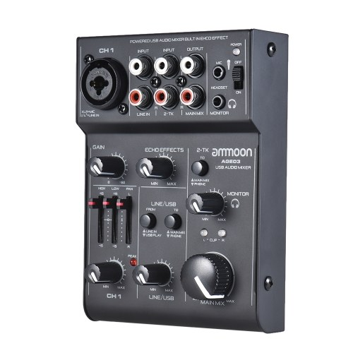 AGE03 5-Channel Mini Mic-Line Mixing Console Mixer with USB Audio Interface Built-in Echo Effect USB Powered for Recording DJ Network Live Broadcast Karaoke