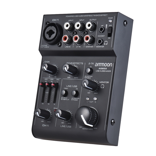 ammoon AGE03 5-Channel Mini Mic-Line Mixing Console Mixer with USB Audio Interface Built-in Echo Effect USB Powered for Recording DJ Network Live Broadcast Karaoke