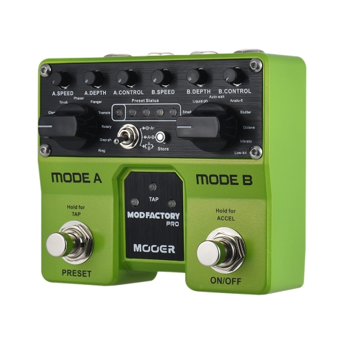MOOER MODFACTORY Pro Dual Modules Modulation Guitar Effect Pedal 16 Modulation Effects Tap Tempo Function with Dual Footswitches