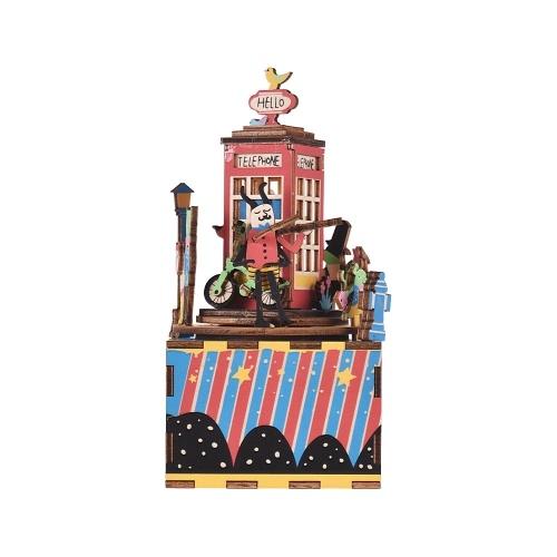 木製ハンドクランクオルゴールDIYセット漫画電話ブースデザインクリスマス誕生日ミュージカルギフトフェスティバルは、友人の恋人のために提示