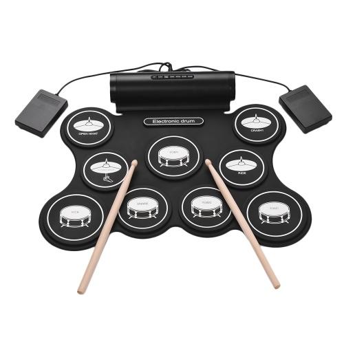 Portable Stereo Digital Elektronische Roll Up Drum Kit 9 Silikon Drum Pads Unterstützung MIDI Funktion Eingebaute Lautsprecher USB Powered für Anfänger Kinder