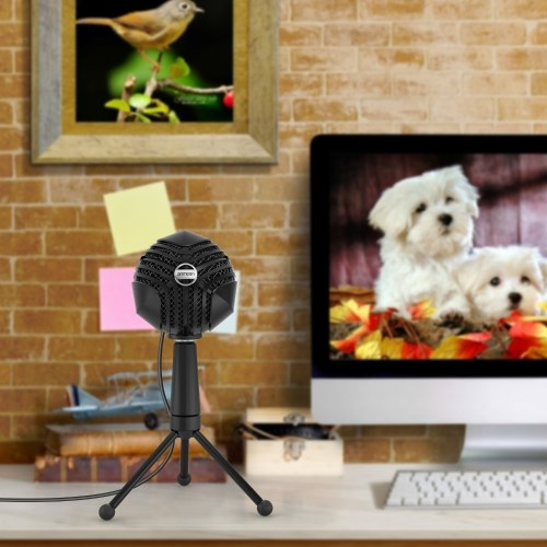 ammoon GM-888 USB Condenser Microphone Ball-shaped Mic with Desktop Mini Metal Tripod
