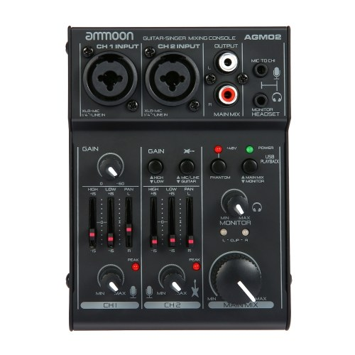 AGM02 Mini 2-Channel Sound Card Mixing Console Digital Audio Mixer 2-band EQ Built-in 48V Phantom Power 5V USB Powered for Home Studio Recording DJ Network Live Broadcast Karaoke