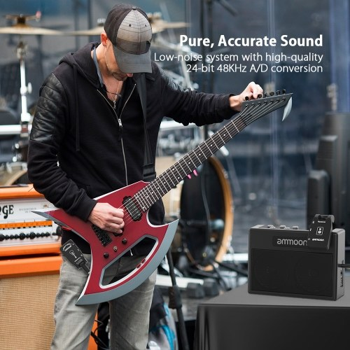 Wireless Guitar System 2.4G Rechargeable 6 Channels Audio Transmitter Receiver for Electric Guitar Bass