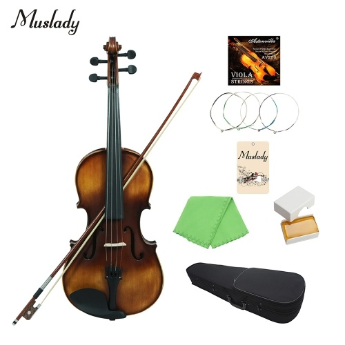 Muslady VLA-30 4/4 Full Size Classic Viola Spruce Topboard Rosewood Fretboard with Carry Case Rosin Cleaning Cloth Violin Strings