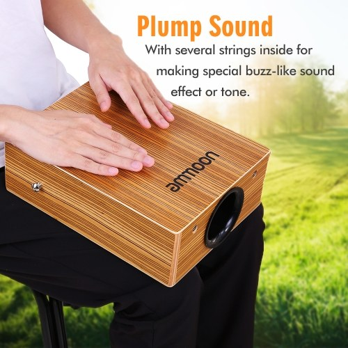 Portable Traveling Cajon Box Drum Flat Hand Drum Wooded Percussion Instrument with Strap Carry Bag