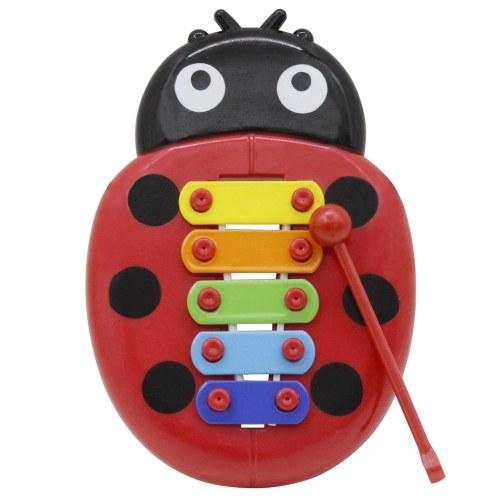 Forma colorida de mariquita de dibujos animados de 5 tonos para niños, niños, xilófono y glockenspiel