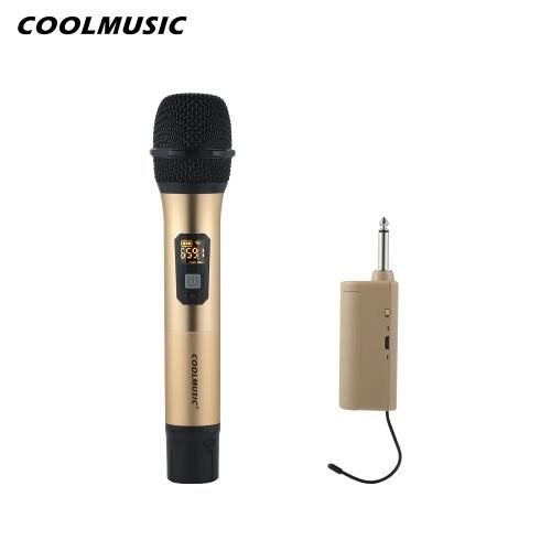 COOLMUSIC 10 canales Micrófonos UHF Micrófono portátil de mano con mini receptor Sistema de micrófono inalámbrico para espectáculos en vivo Karaoke Discurso Instrumentos musicales