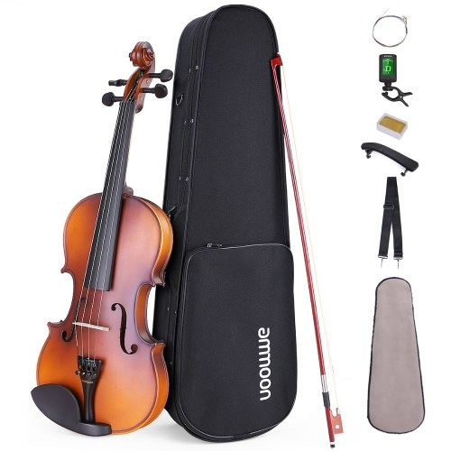 ammoon Matte Acoustic 4/4 Violin Fiddle White Pine Topboard Maple Backboard Sideboard Mahogany Bow with Carry Case Shoulder Rest Tuner Strings Rosin