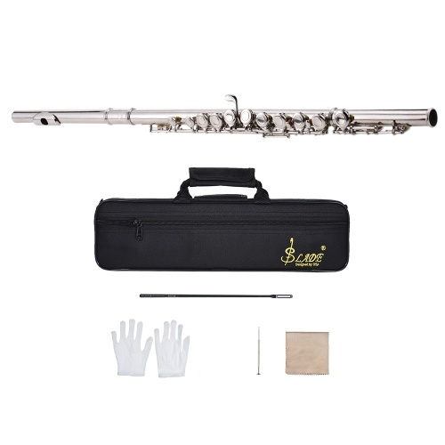 Western Concert Flute Silver Plated 16 Holes C Key Cupronickel Strumento a fiato