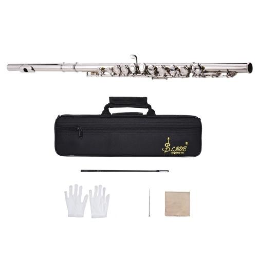 Western Konzertflöte Silber Überzogene 16 Löcher C Key Cupronickel Holzblasinstrument