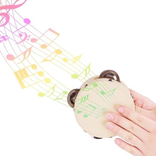 4 Inch Hand Tambourine with Metal Single Row Jingles Sheepskin Drum Skin Wooden Tambourines Entertainment Musical Timbrel