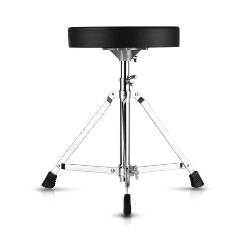 Universal Drum Throne Round Padded Drum Seat Stool Single-braced Stainless Steel Legs Anti-slip