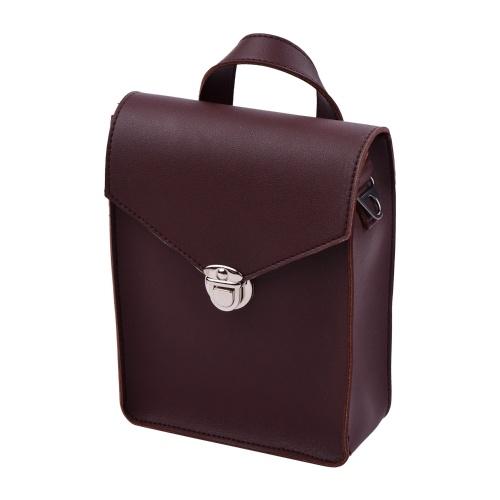 Borsa portaoggetti portatile Kalimba Custodia in pelle PU multifunzionale con custodia per pianoforte Borsa da viaggio Mbira con cinturino marrone scuro