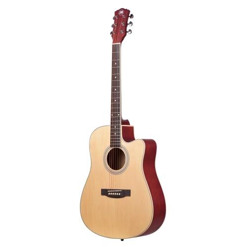 Tamaño de 41 pulgadas Guitarra acústica Instrumentos musicales de cuerda Material de Merbau Cuerdas de metal Clavijas de afinación cerradas Guitarras estilo dedo para principiantes que proporcionan una bolsa de concierto portátil