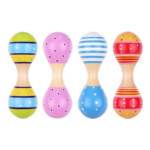 Maracas de madera para niños, lindos y coloridos juguetes de instrumentos musicales, paquete de 4 piezas (entrega de color aleatorio)