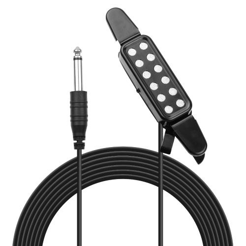 Akustikgitarren-Tonabnehmer Clip-on-Gitarren-Tonabnehmer Wandler-Instrumenten-Tonabnehmer mit 1/4 Zoll Anschluss 2,9 Meter Kabel