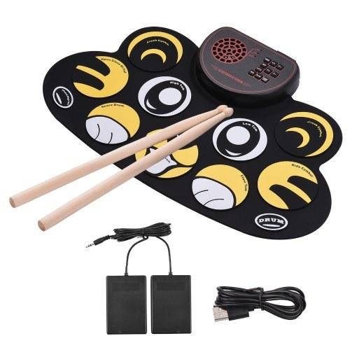Muslady Electronic Drum Set Pad d'entraînement portable Roll Up Drum