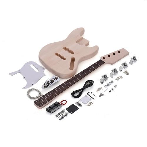 Andoer® JAZZ Bass Stil 4-Saiten E-Bass Feste Lindekorpus Ahornholz Hals Palisander Griffbrett DIY Satz Set