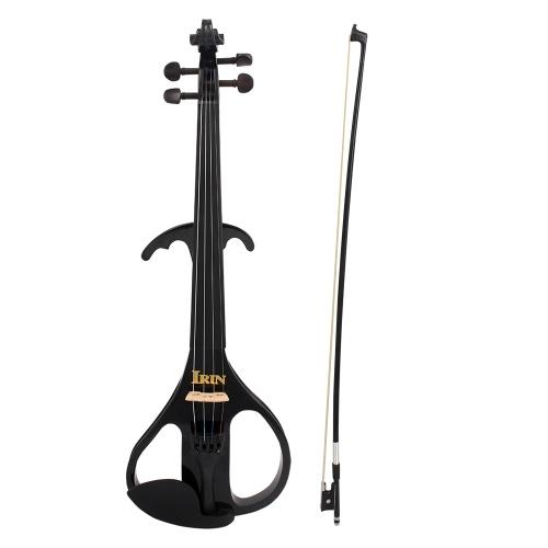 4/4 taille violon électrique Fiddle érable bois Instrument à cordes ébène Fretboard mentonnière avec 1/4