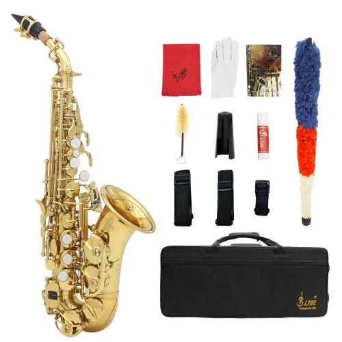 LADE Messing Golden schnitzen Muster Bb Bend Althorn Sopran Saxophon Sax Perle weiße Schale Schaltflächen Blasinstrument mit RS Handschuhe Tuch Fett Gürtel Reinigungsbürste